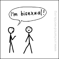 "Person on left says ""I'm bisexual!"""