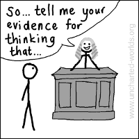 "Friend dressed as a judge says ""So... tell me your evidence for thinking that..."", while smiling."