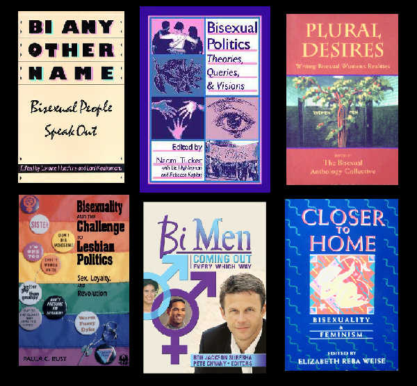 Half a dozen book covers featuring bisexuality